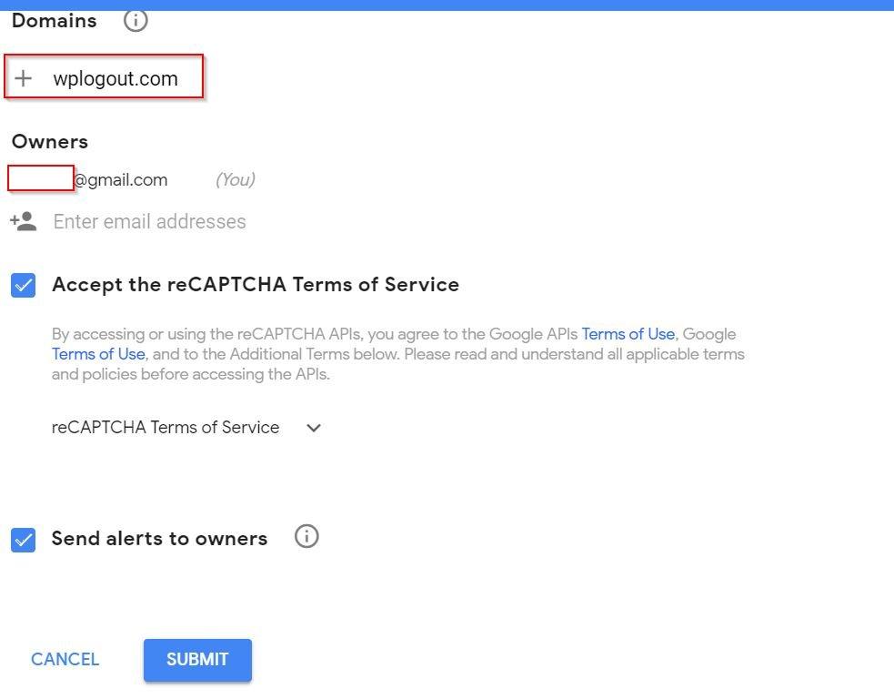 Registering your Domain for Recaptcha