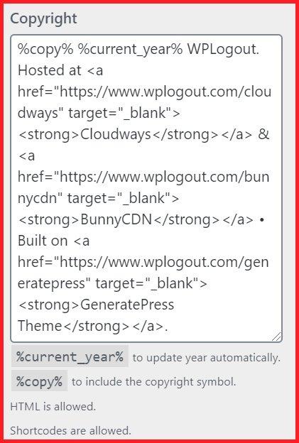 Copyright in GeneratePress Premium Version