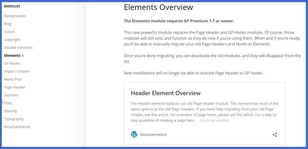 Elements Documentation in GeneratePress